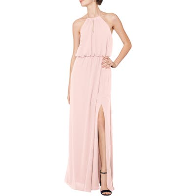 #levkoff Halter Keyhole Blouson Chiffon Evening Dress, Pink
