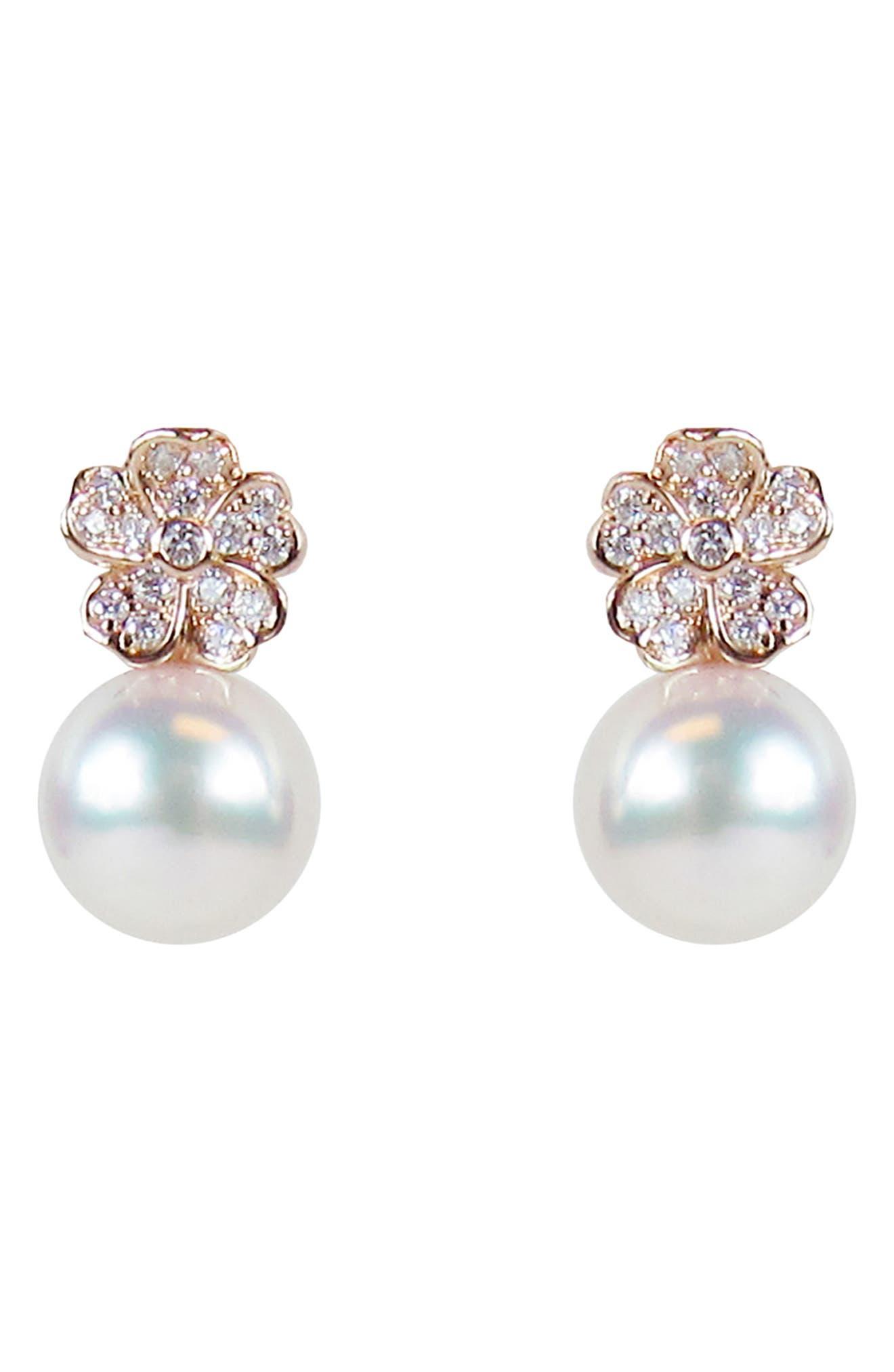 Akoya Cultured Pearl & Diamond Flower Earrings