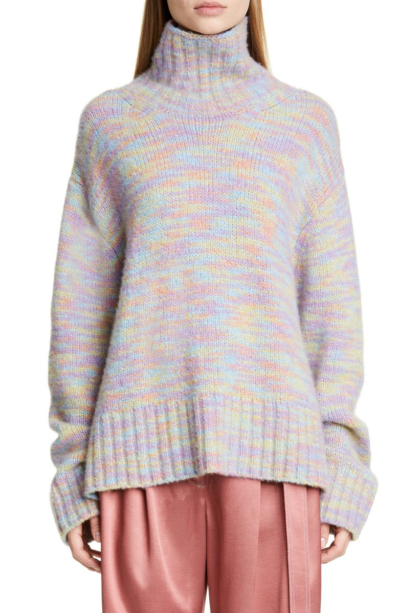SIES MARJAN Yuki Multicolor Wool & Silk Turtleneck Sweater, Main, color, MULTI MULTICOLORED