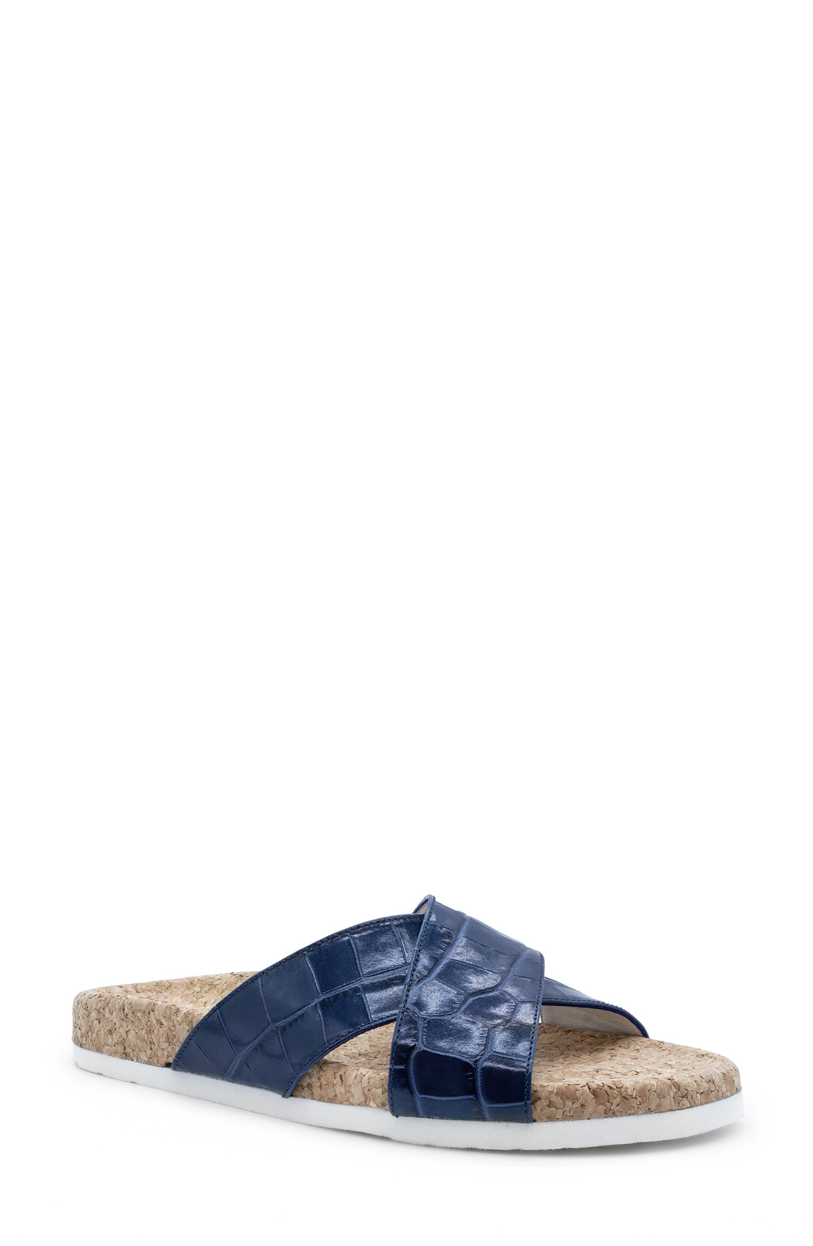 Italeau Morena Croc Embossed Waterproof Slide Sandal in Jeans at Nordstrom