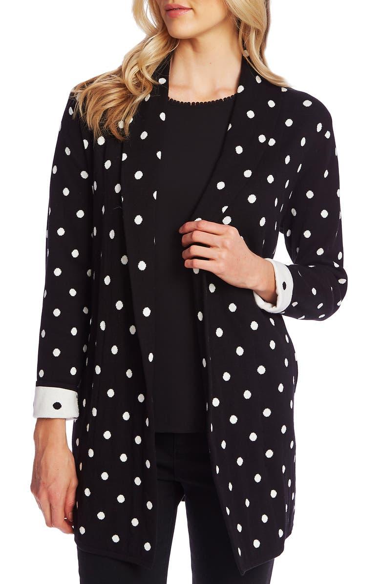 CECE Polka Dot Open Front Long Cardigan, Main, color, RICH BLACK