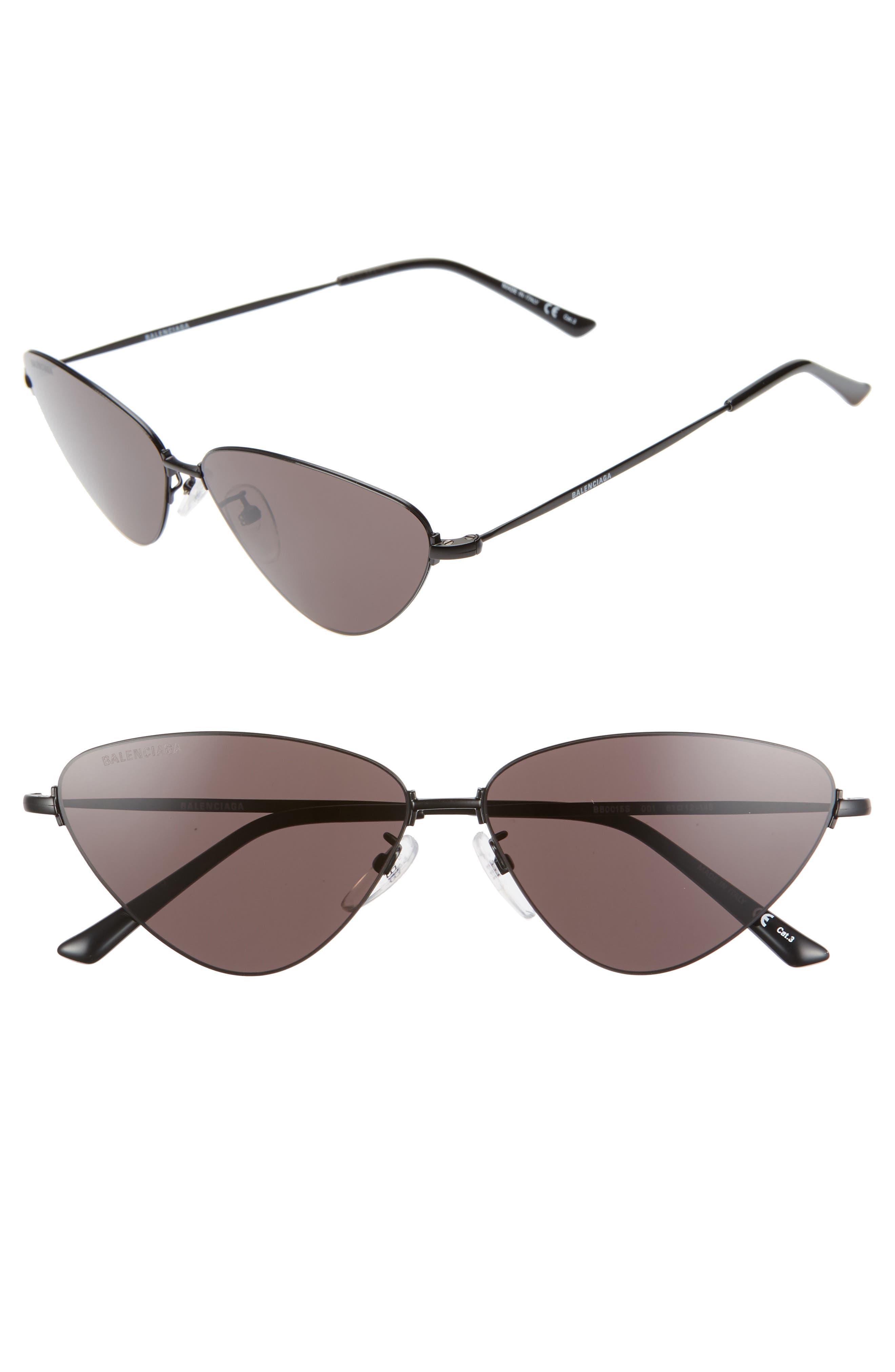 Balenciaga 61Mm Cat Eye Sunglasses - Semi-Matte Black/ Grey