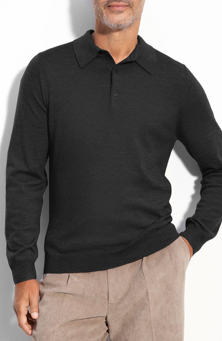 NORDSTROM Merino Wool Polo, Main, color, 001