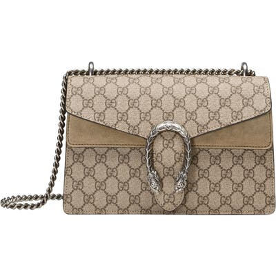 Gucci Small Canvas & Suede Shoulder Bag - Beige