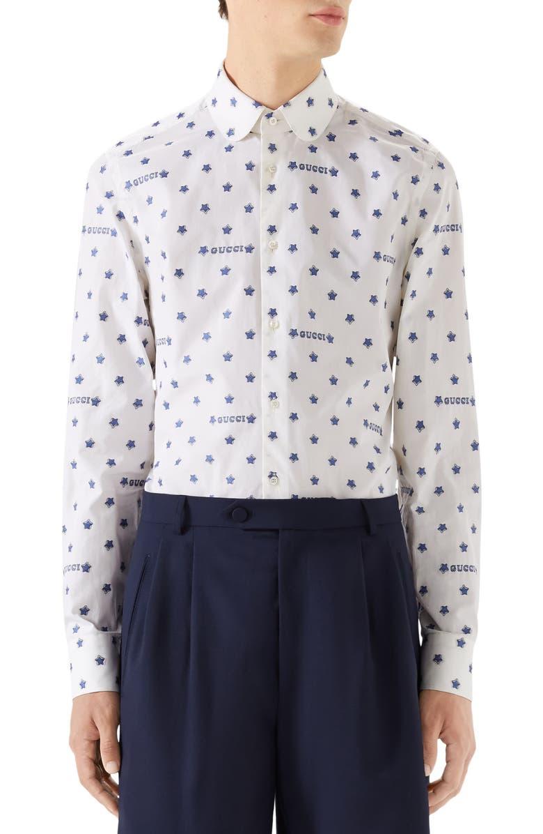 cc961f555b70 Star Print Woven Shirt, Main, color, WHITE