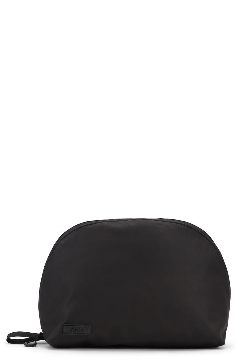 GANNI Large Cosmetics Case, Main, color, BLACK