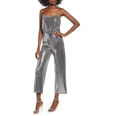 Leith Sparkle Sleeveless Jumpsuit, Metallic