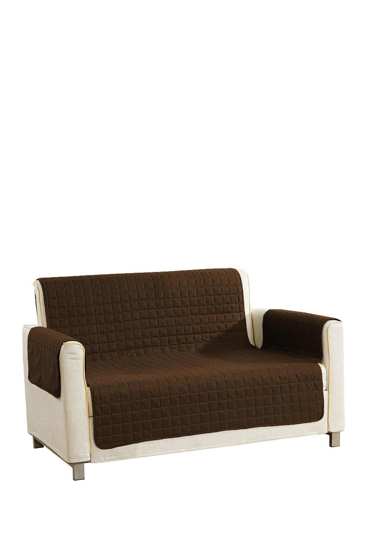 Image of Duck River Textile Brown Ashmont Home Reversible Waterproof Microfiber Loveseat Cover