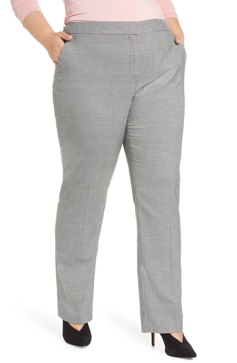 HALOGEN<SUP>®</SUP> Slim Straight Leg Pants, Main, color, BLACK CHECK