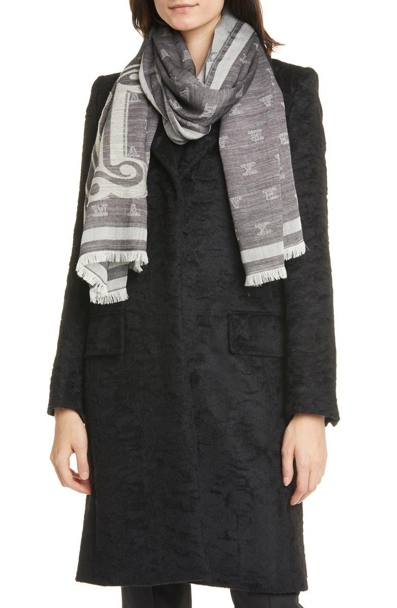 MAX MARA Liuto2 Monogram Jacquard Wool & Silk Scarf, Main, color, BLACK