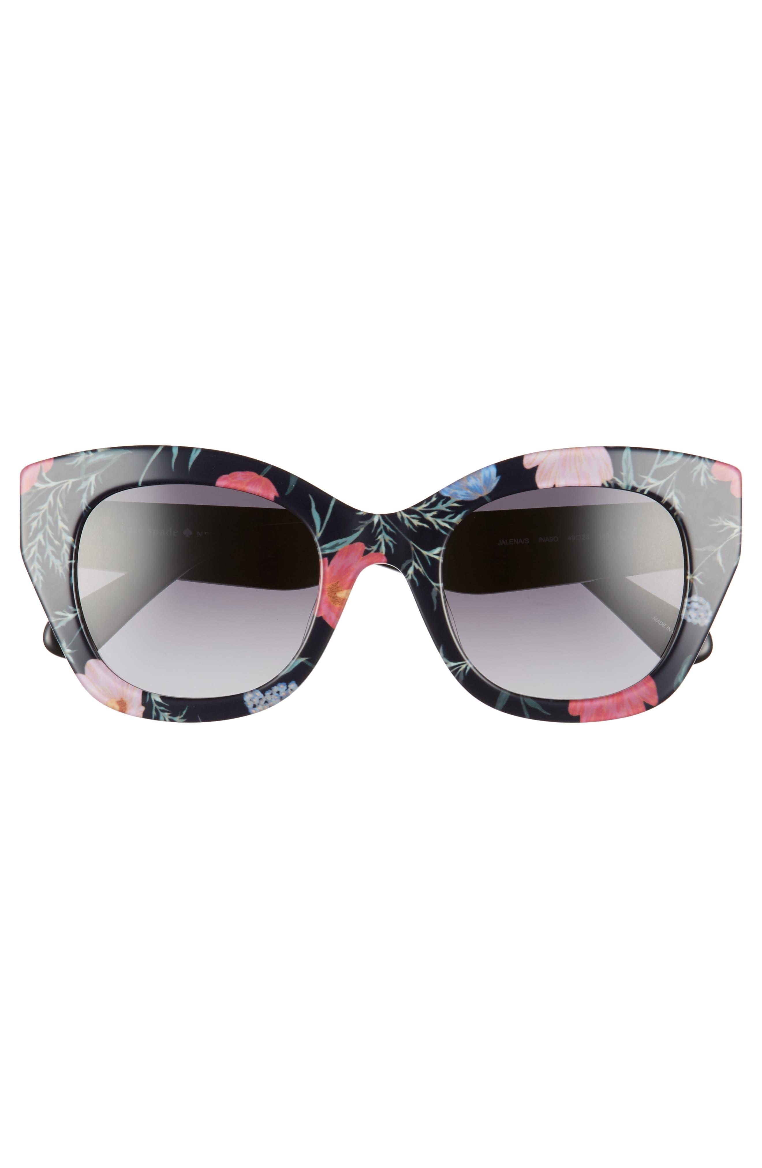 ,                             jalena 49mm gradient sunglasses,                             Alternate thumbnail 3, color,                             BLACK/ FLORAL PRINT
