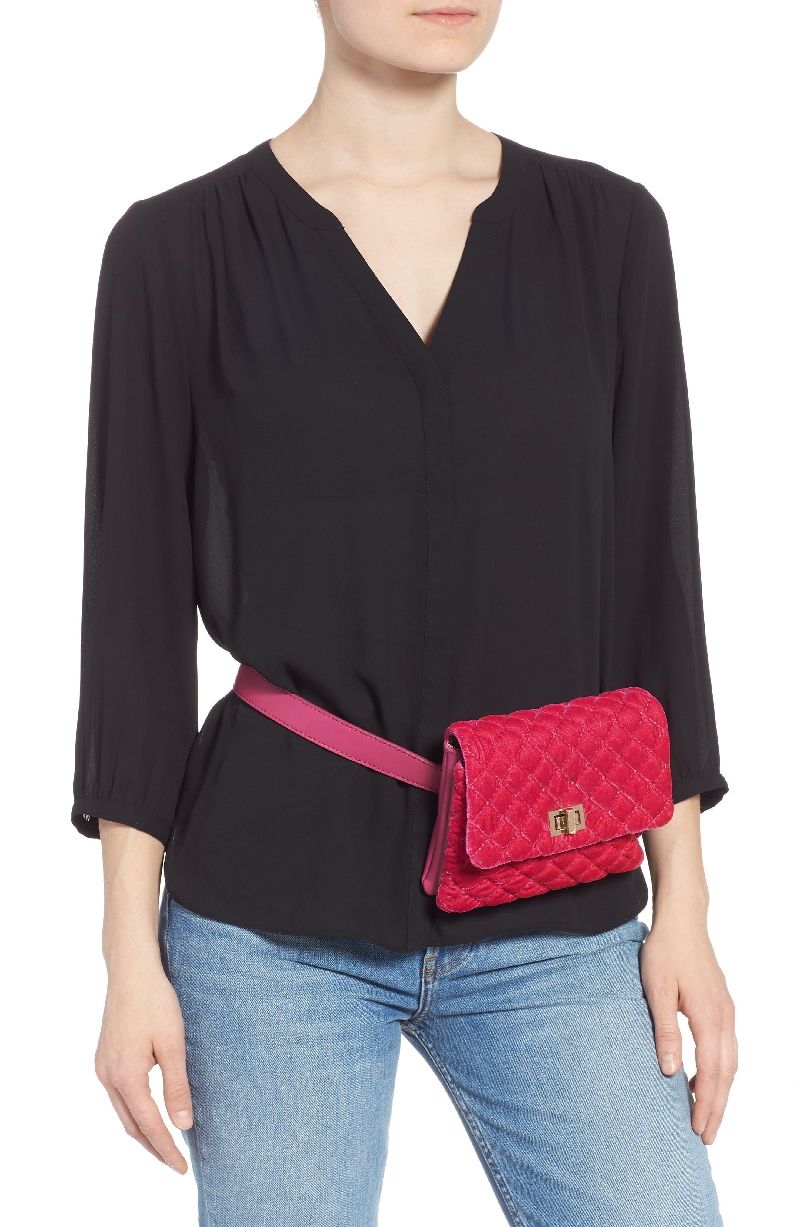 ,                             Nikki Quilted Velvet Belt Bag,                             Alternate thumbnail 11, color,                             650