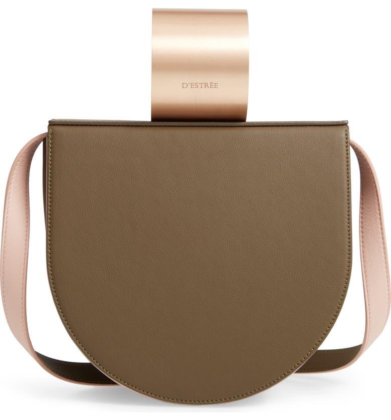 D ESTREE D'Estrëe Lucio Cuff Handle Leather Bag, Main, color, KAKI