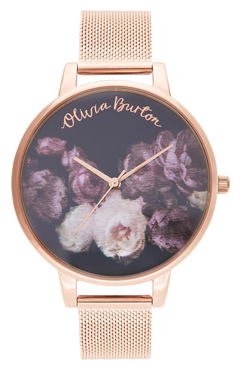 OLIVIA BURTON Fine Art Mesh Strap Watch, 38mm, Main, color, ROSE GOLD/ BLACK FLORAL