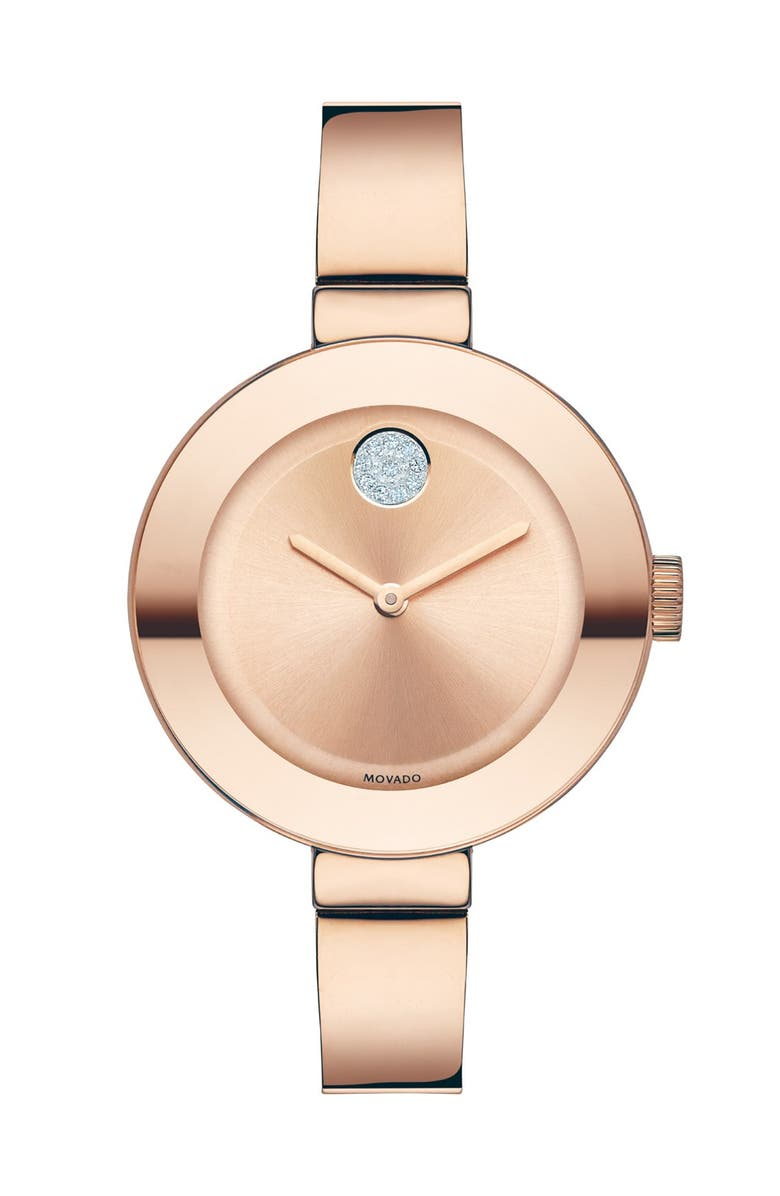 MOVADO 'Bold' Crystal Accent Bangle Watch, 34mm, Main, color, ROSE GOLD