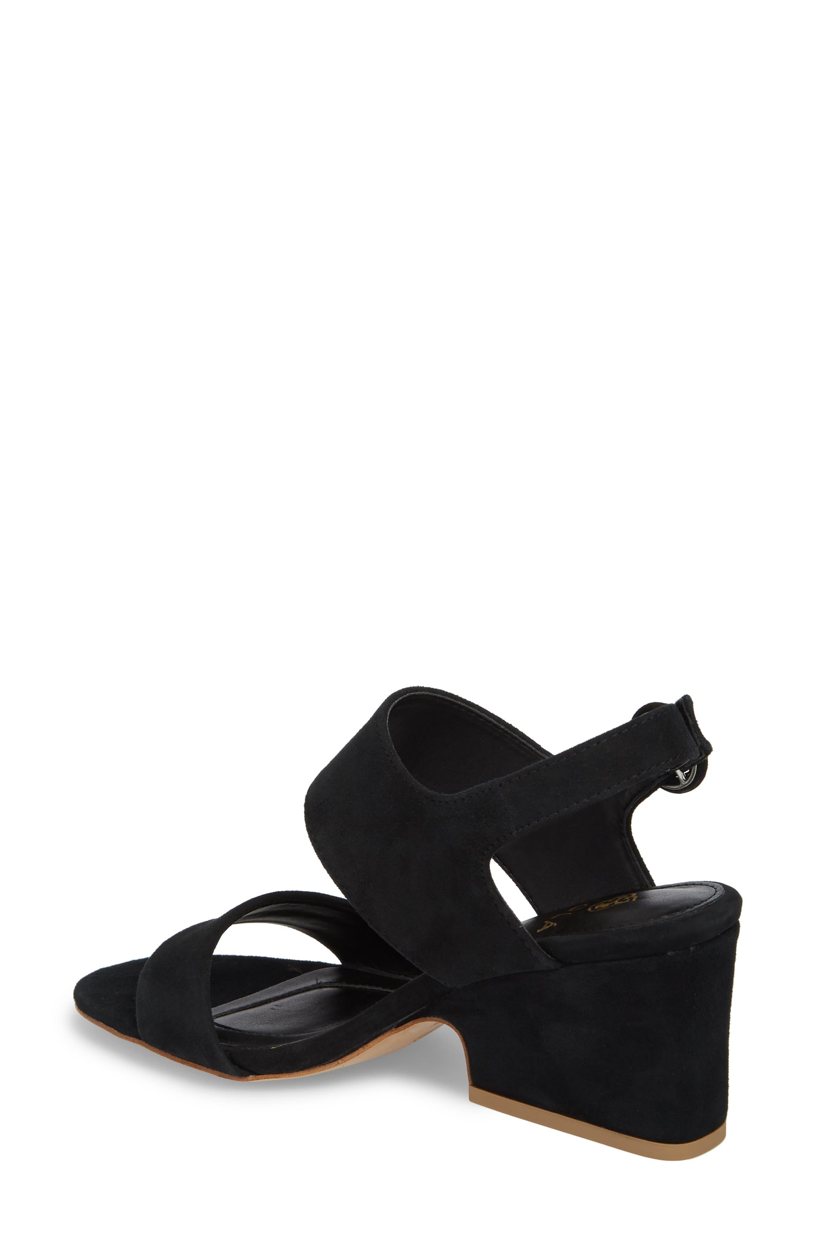 ,                             Isola Landra Block Heel Sandal,                             Alternate thumbnail 2, color,                             BLACK SUEDE