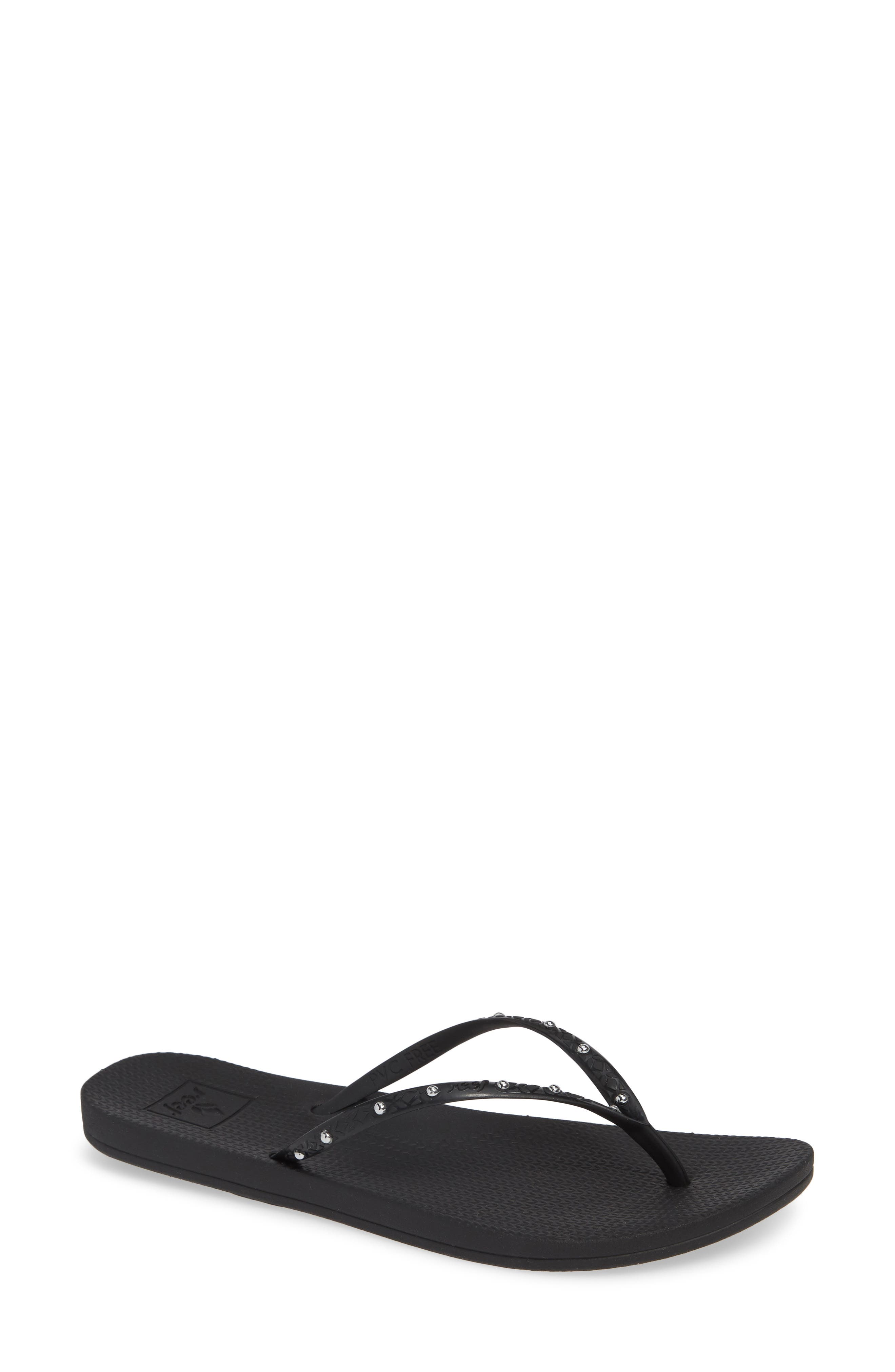 Escape Lux Studded Flip Flop, Main, color, BLACK/ SILVER