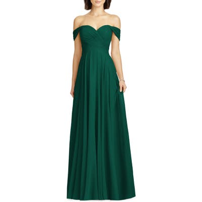 Dessy Collection Lux Ruched Off The Shoulder Chiffon Gown, Green