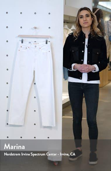Wedgie High Waist Raw Hem Crop Straight Leg Jeans, sales video thumbnail