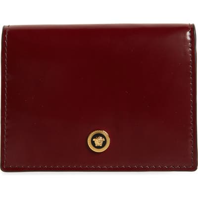 Versace Medusa Bifold Leather Wallet - Burgundy