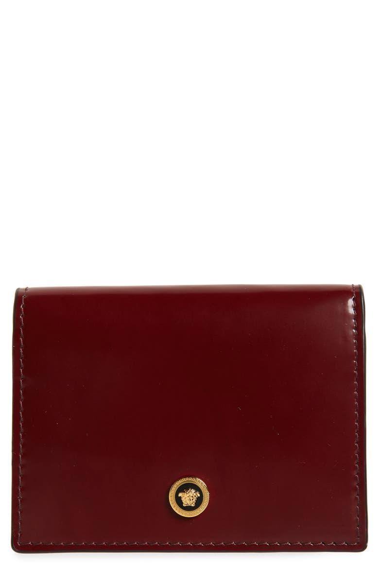 VERSACE Medusa Bifold Leather Wallet, Main, color, BURGUNDY HOT GOLD