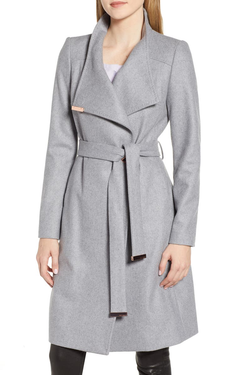 TED BAKER LONDON Wool Blend Long Wrap Coat, Main, color, 030