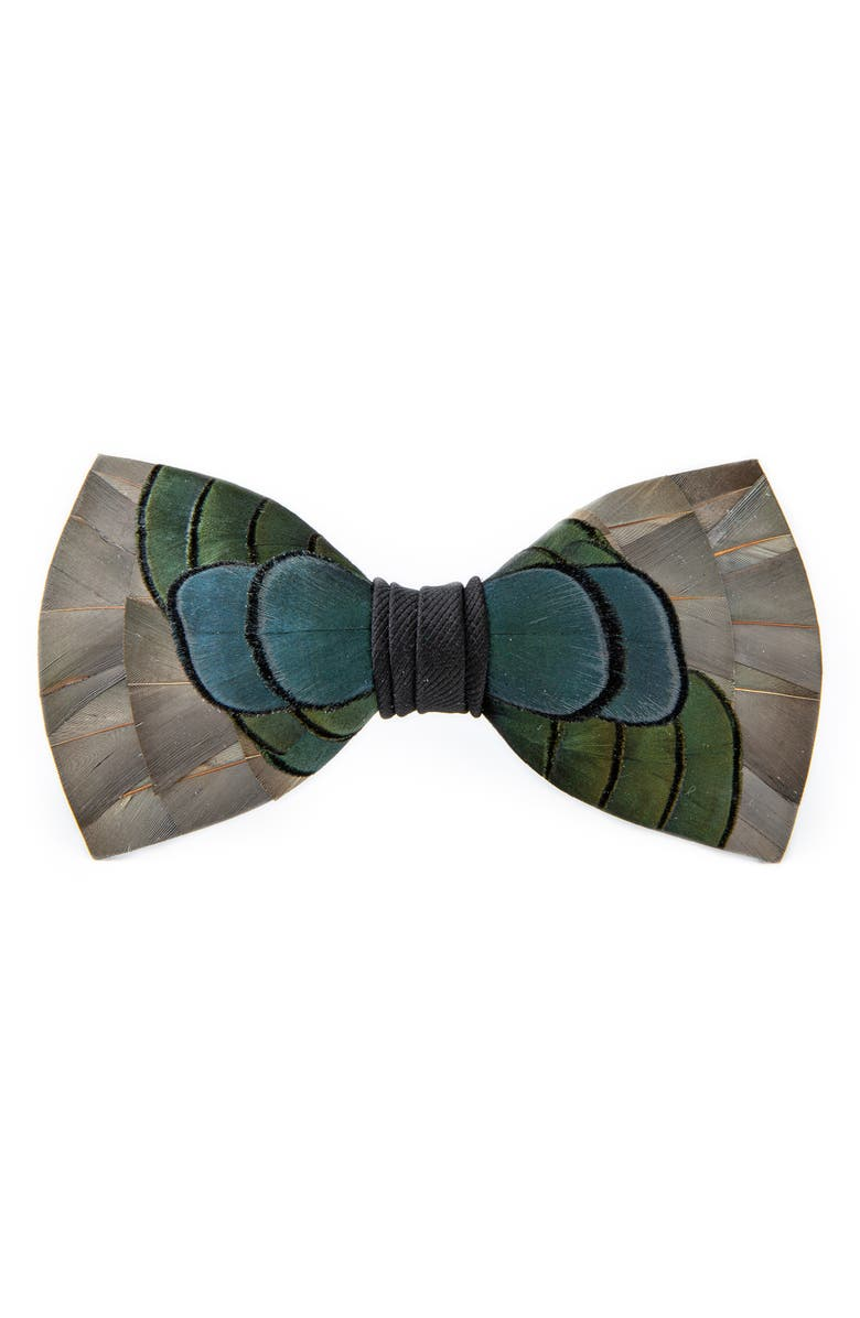BRACKISH & BELL Nuno Feather Bow Tie, Main, color, GREY / BLUE / GREEN