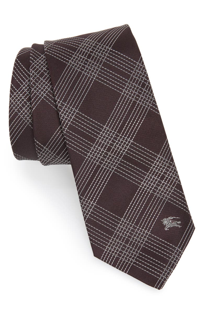 BURBERRY Manston Graphic Line Check Silk Tie, Main, color, DARK ELDERBERRY