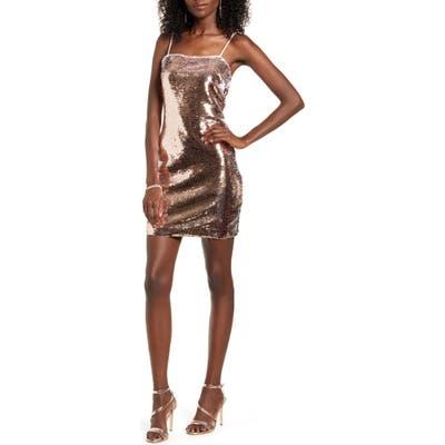 Endless Rose Sequin Body-Con Dress, Metallic