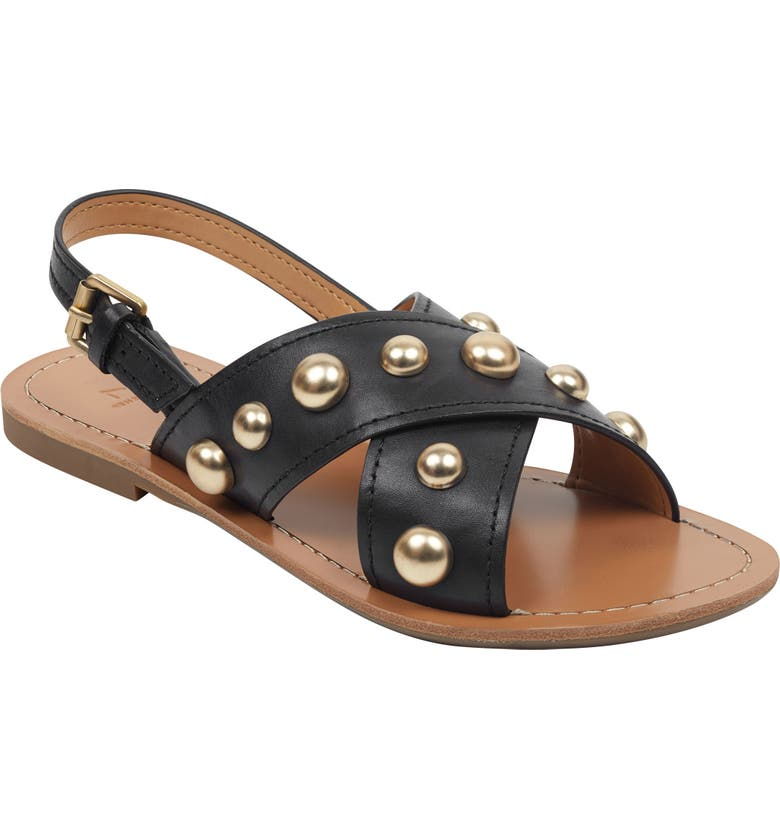 MARC FISHER LTD Riter Sandal, Main, color, BLACK LEATHER