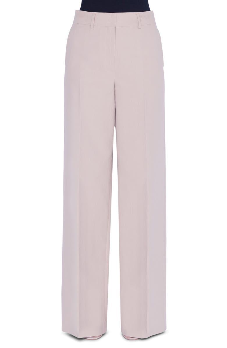 AKRIS Flore High Waist Wide Leg Cotton Pants, Main, color, BIRCH