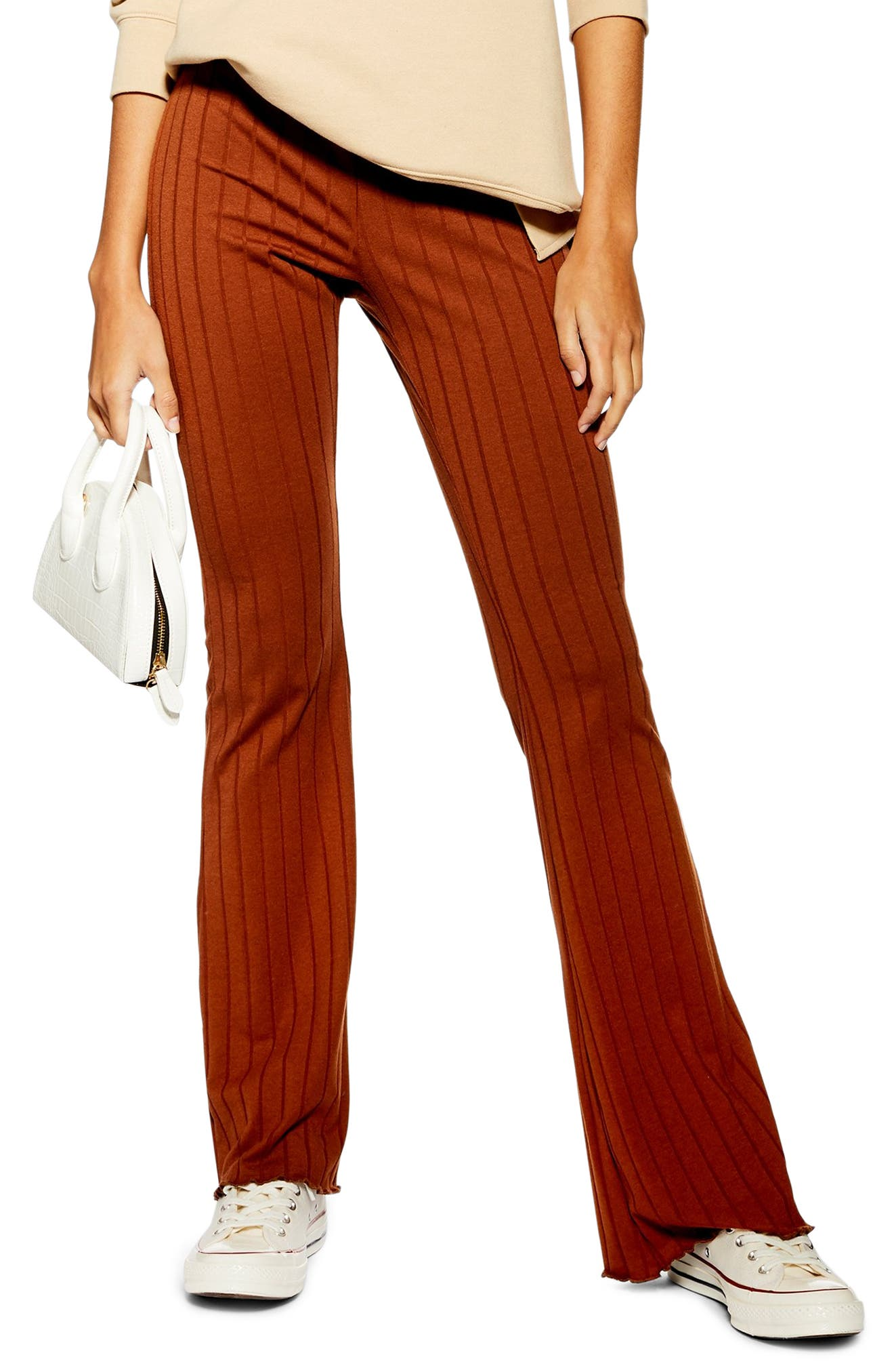 Topshop Ribbed Babylock Flared Pants, US (fits like 0) - Brown