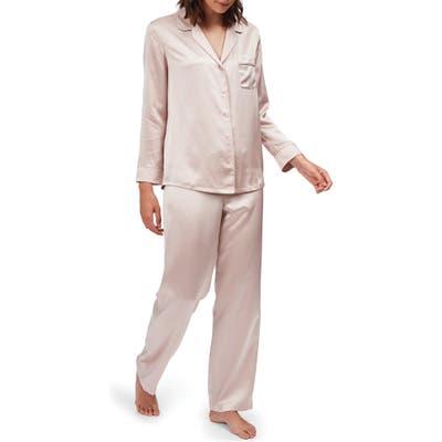 The White Company Piped Silk Pajamas, Pink