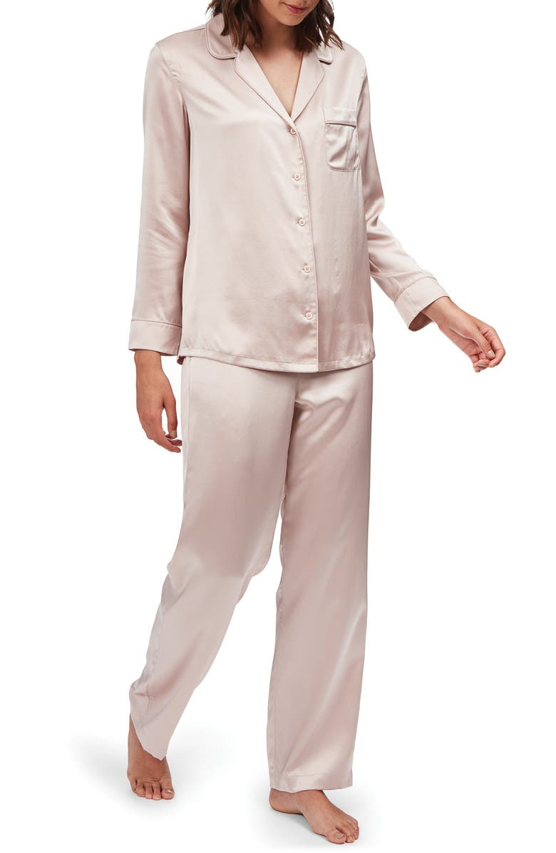 THE WHITE COMPANY Piped Silk Pajamas, Main, color, VINTAGE PINK
