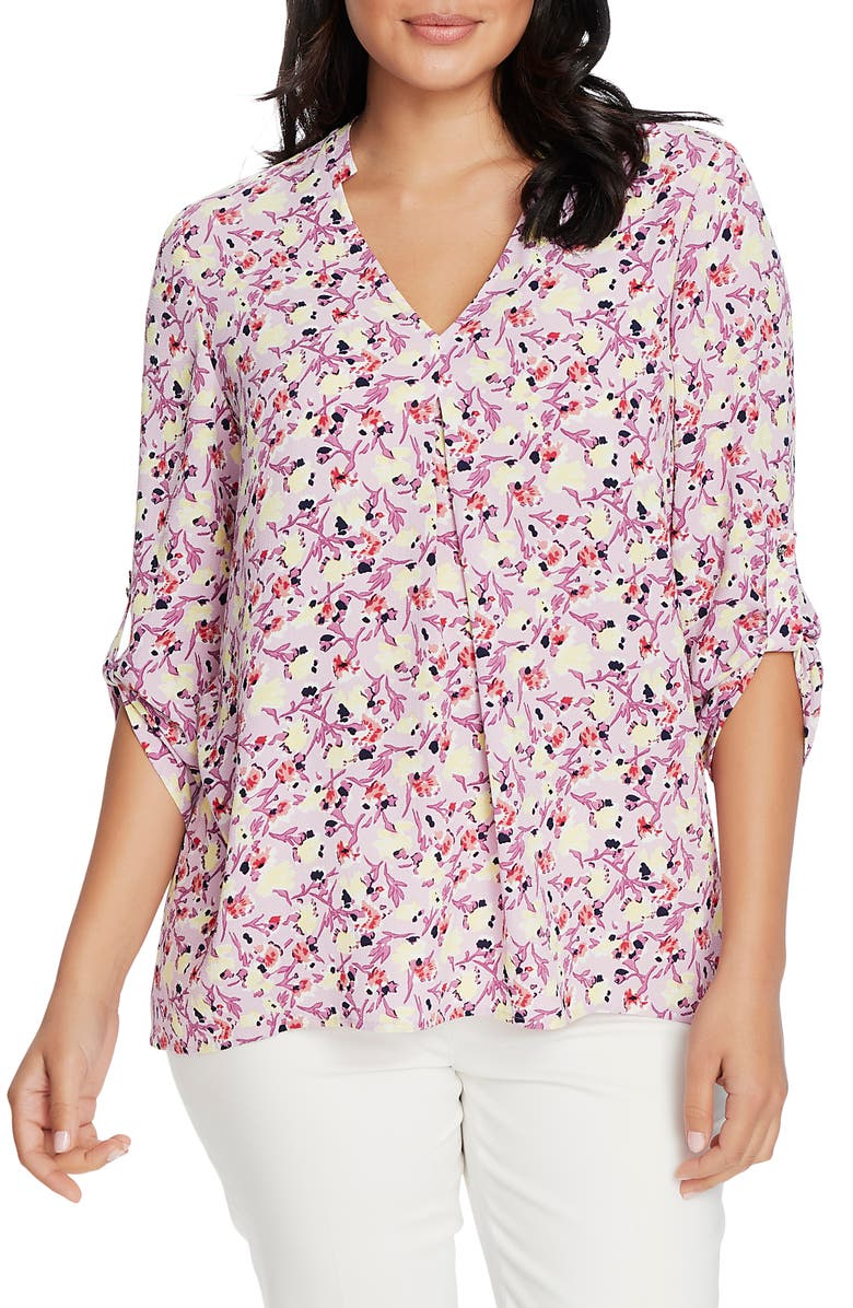 CHAUS Garden Sprig Notch Neck Blouse, Main, color, LILAC BREEZE