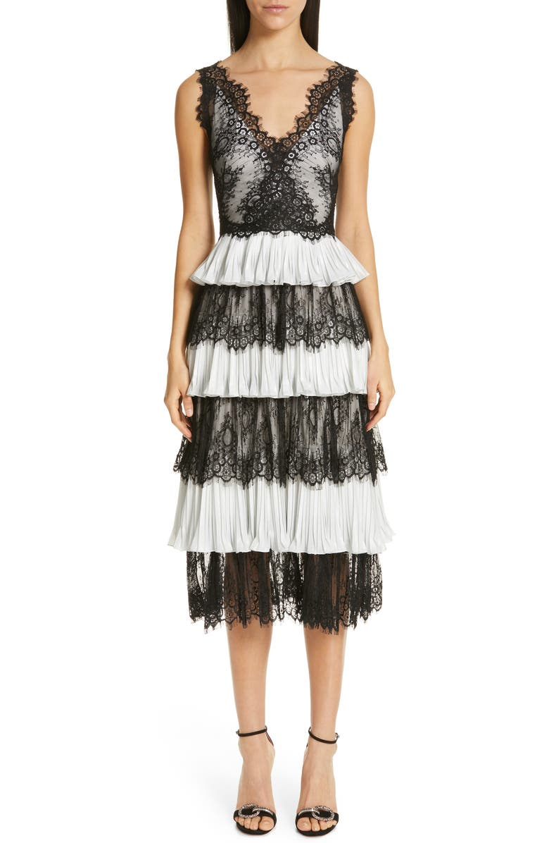 MARCHESA NOTTE Tiered Lace Tea Length Dress, Main, color, 001