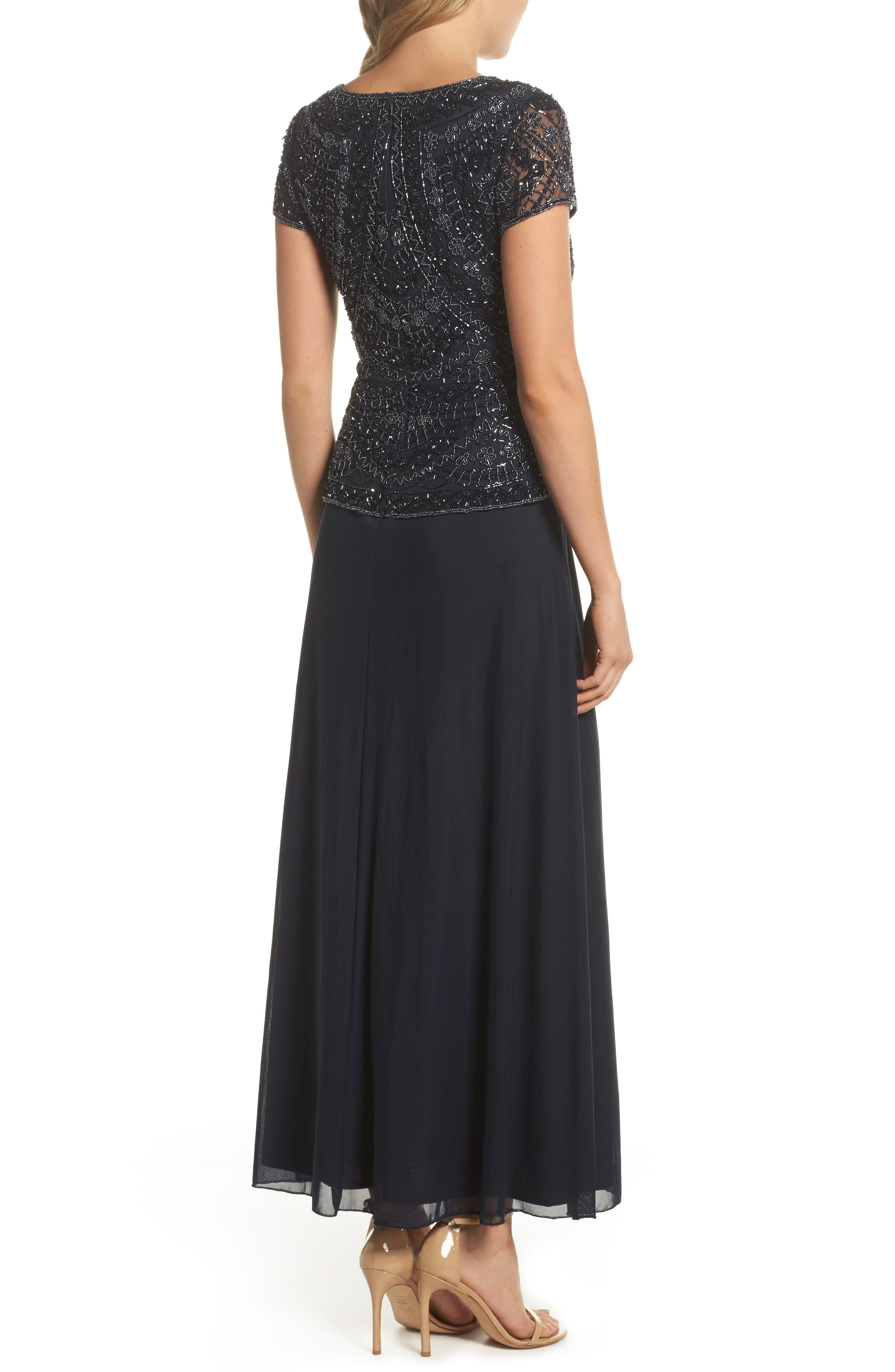,                             Beaded V-Neck Mock Two-Piece Gown,                             Alternate thumbnail 2, color,                             NAVY