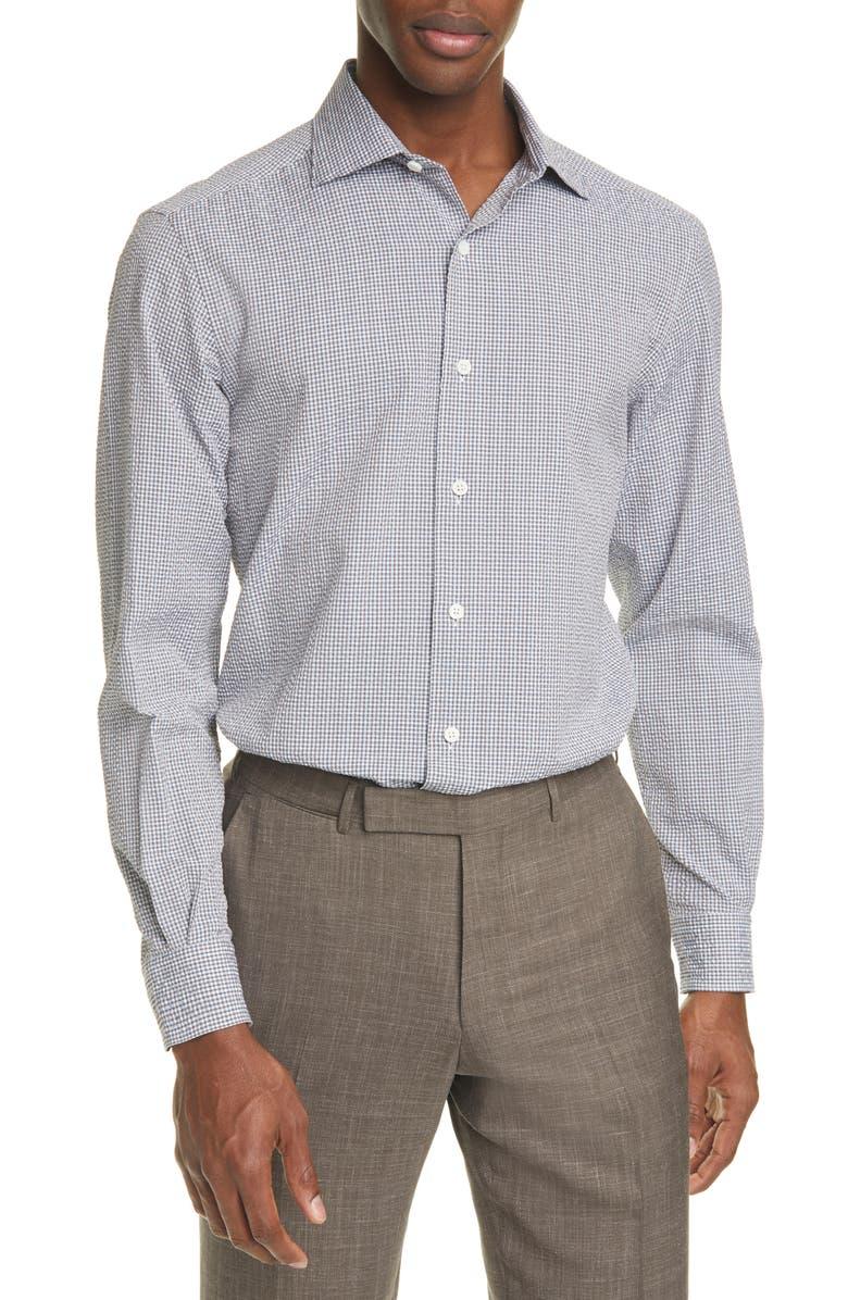 ERMENEGILDO ZEGNA Classic Fit Check Seersucker Button-Up Shirt, Main, color, 200
