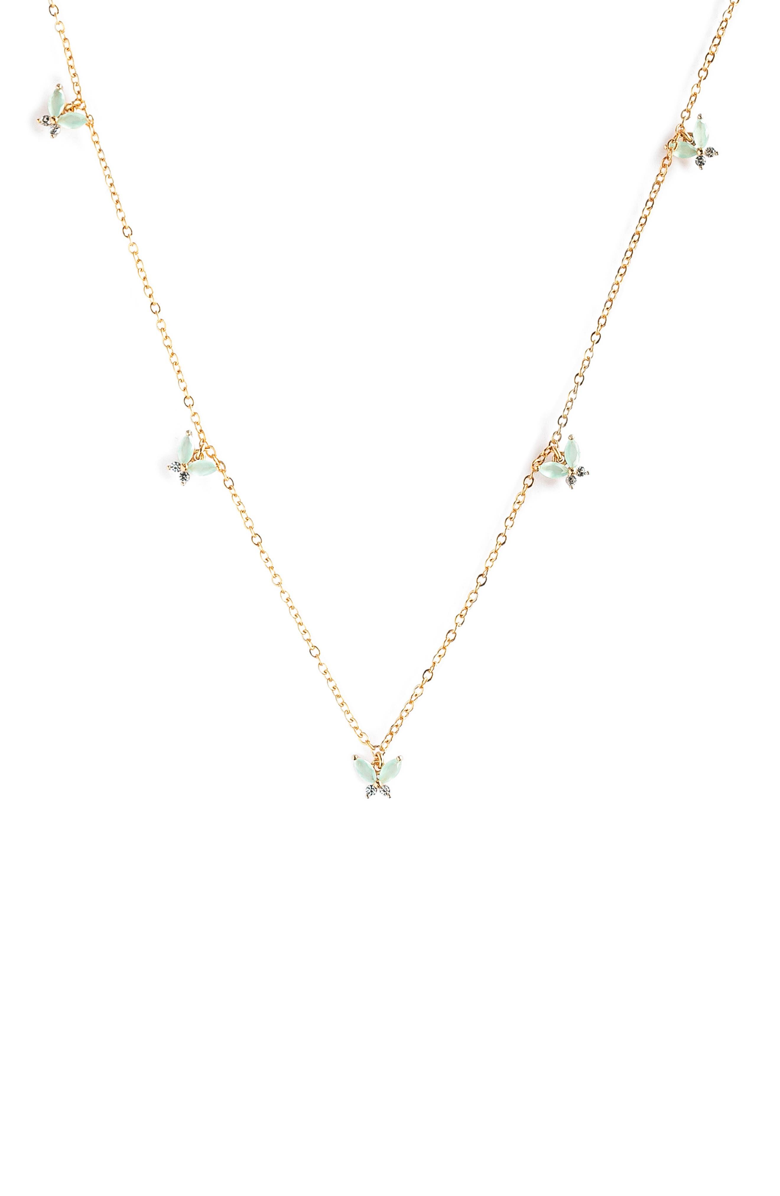 Mint Mari Butterfly Choker Necklace