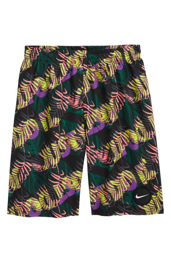 """Nike Kids' Big Boys Jdi Tropic Packable 8"""" Volley Short In 001 Black"""