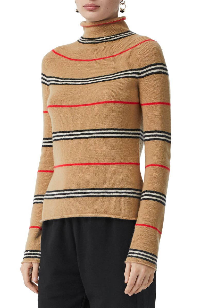 BURBERRY Stripe Cashmere Turtleneck Sweater, Main, color, 250