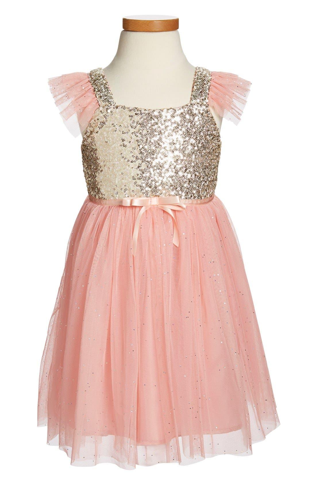 ,                             Sequin Bodice Tulle Dress,                             Main thumbnail 1, color,                             PEACH