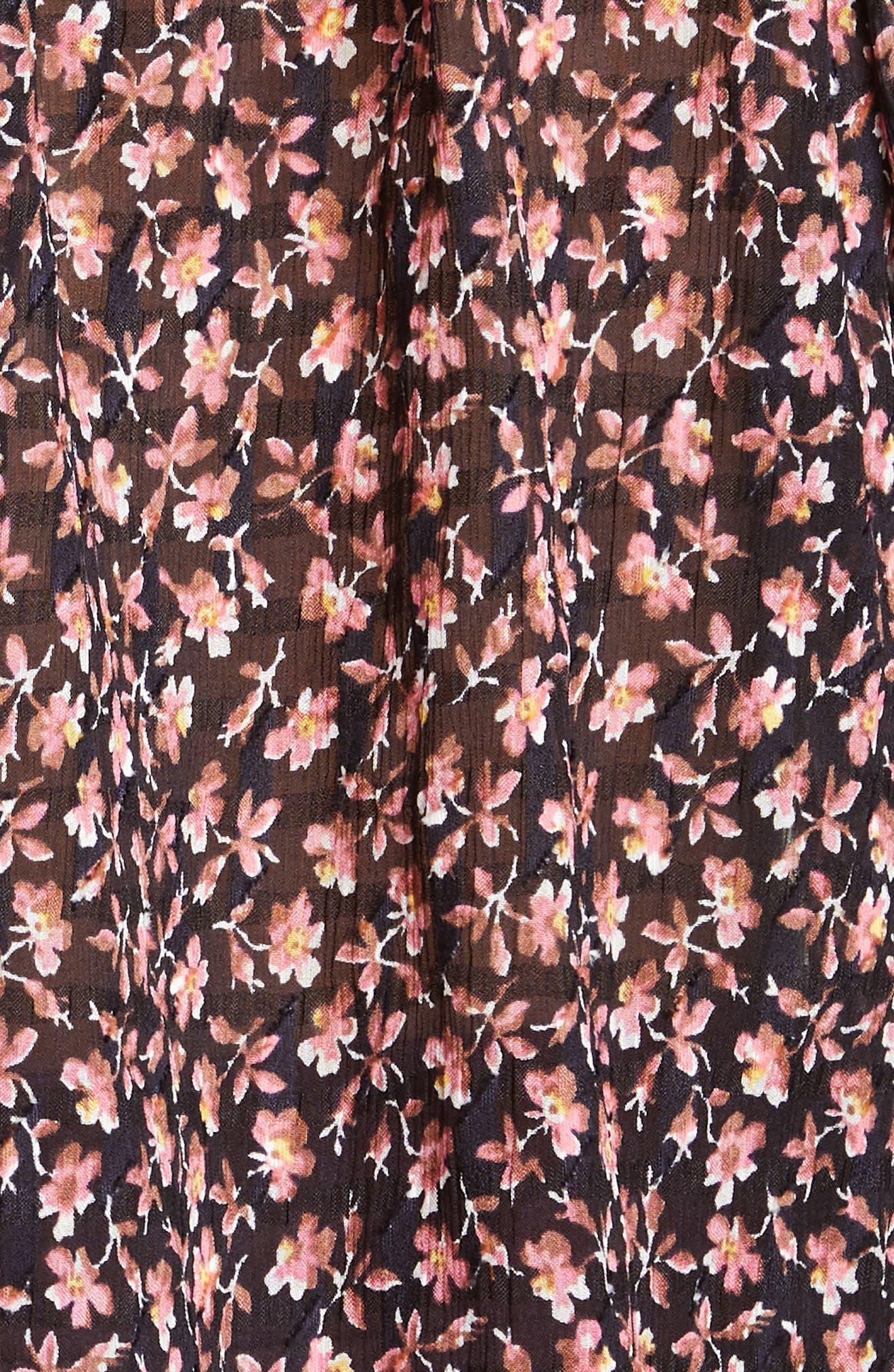 ,                             Floral Ruffle Detail Silk & Cotton Blouse,                             Alternate thumbnail 5, color,                             NAVY COMBO