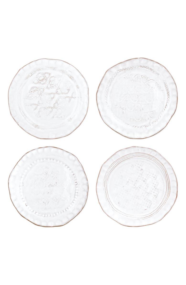 VIETRI Bellezza Set of 4 Assorted Stoneware Canape Plates, Main, color, WHITE