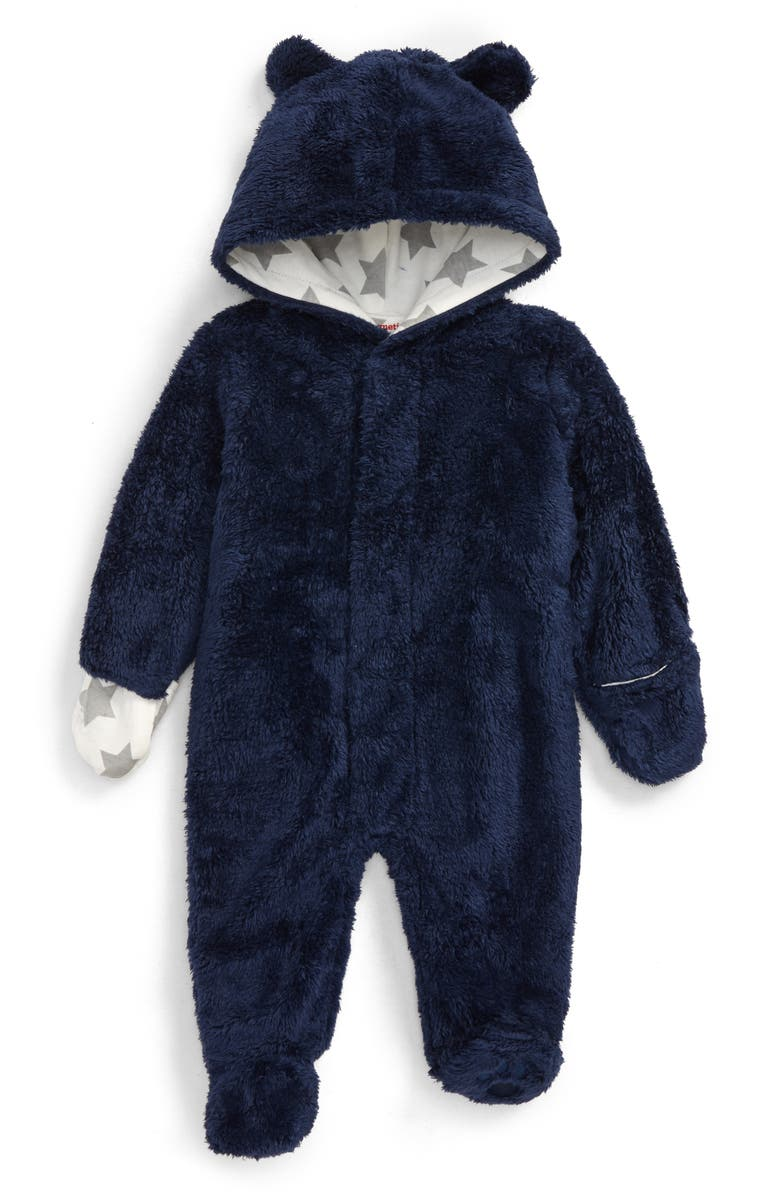 MAGNETIC ME Minky Fleece One-Piece Hooded Footie, Main, color, NAVY
