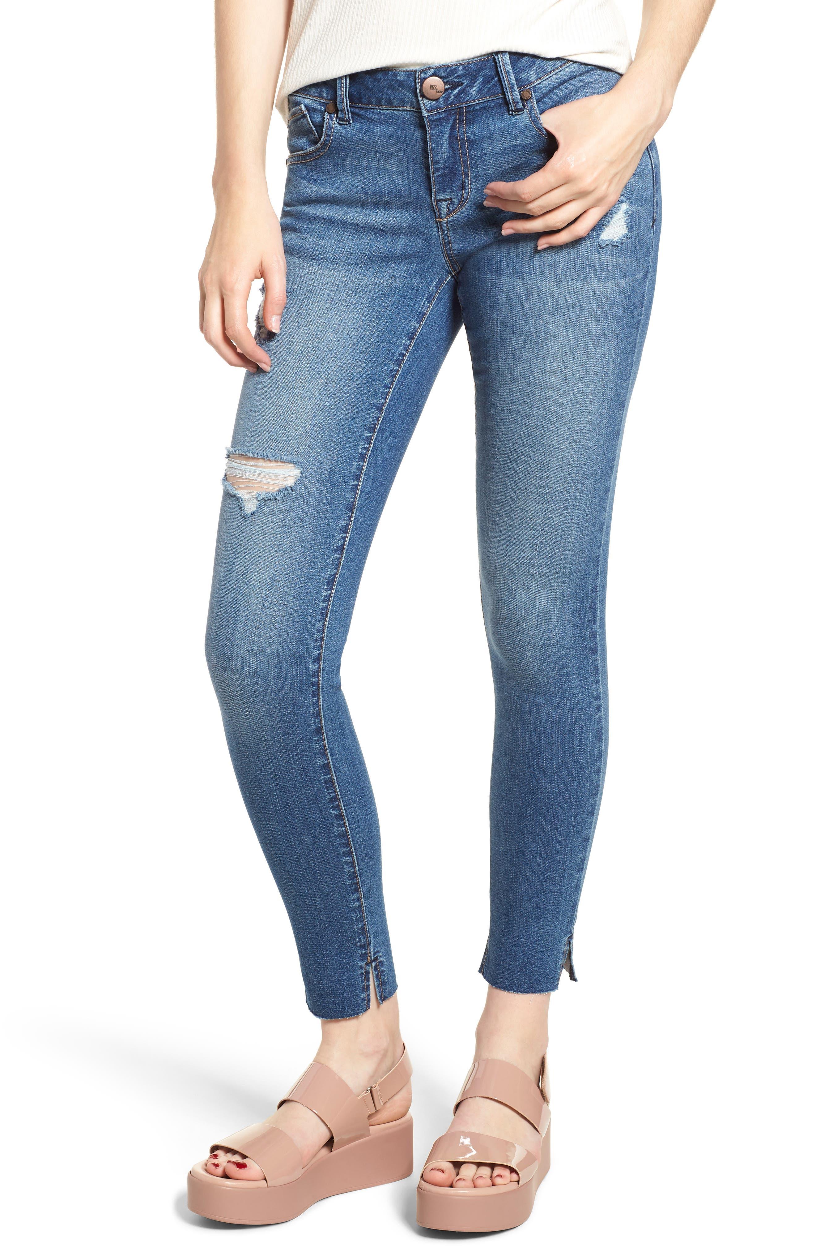 Image of 1822 Denim Distressed Raw Hem Ankle Jeans