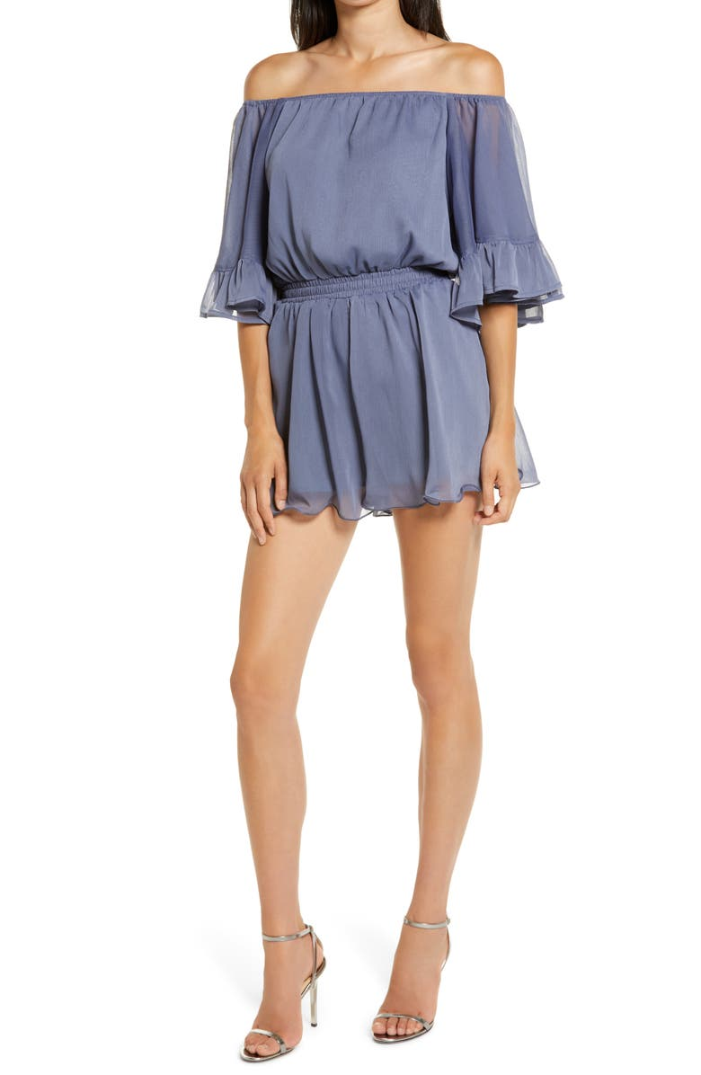 ENDLESS ROSE Off the Shoulder Ruffle Sleeve Romper, Main, color, DUSTY BLUE