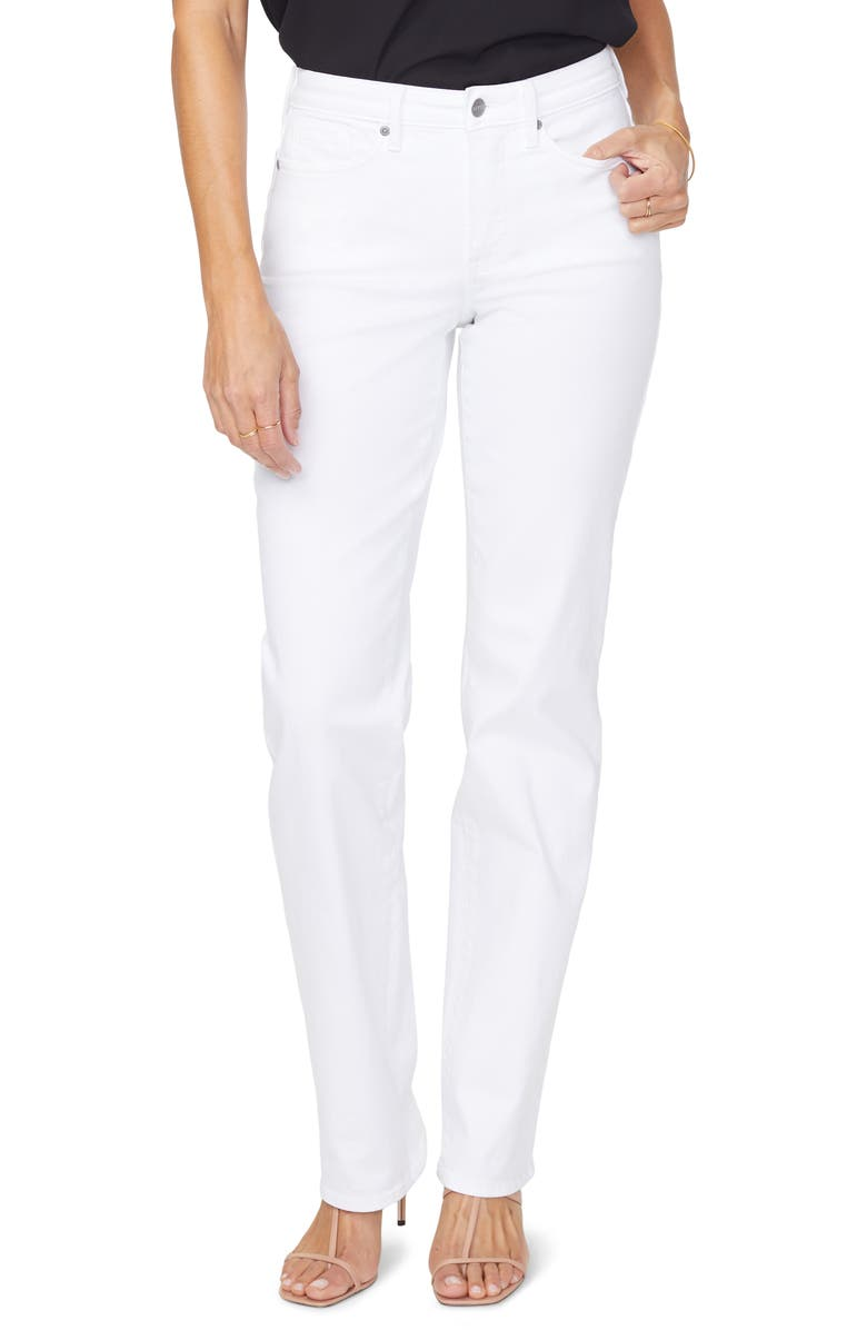 NYDJ High Waist Relaxed Straight Leg Jeans, Main, color, OPTIC WHITE