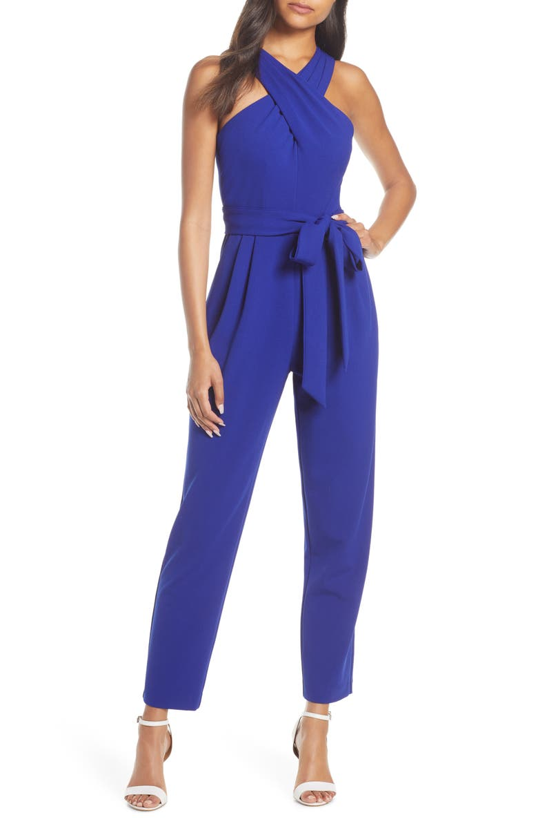 ELIZA J Cross Neck Belted Crepe Jumpsuit, Main, color, COBALT