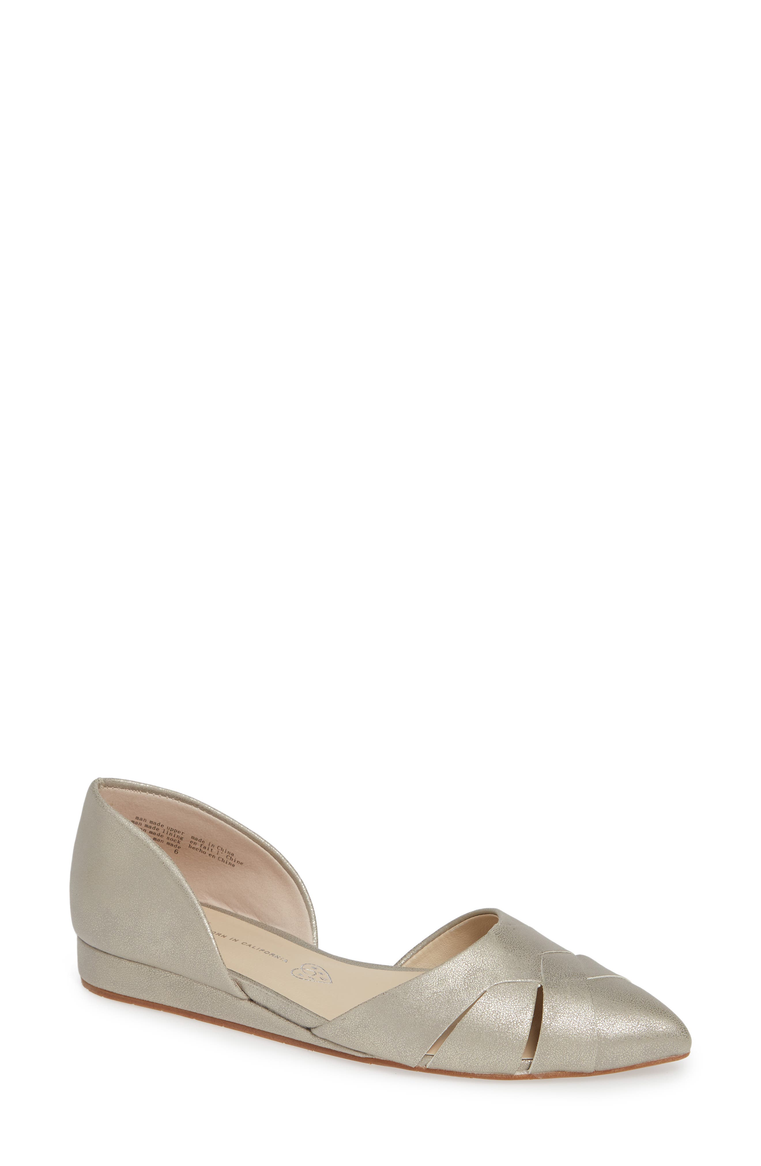 Bc Footwear Focal Point Vegan Pointy Toe Flat, Metallic